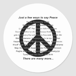 There are many ways to say peace with symbol round sticker