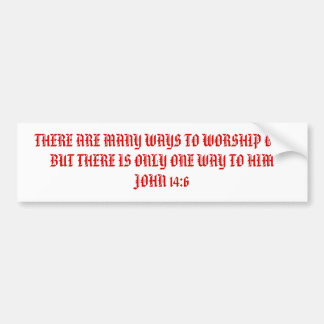 THERE ARE MANY WAYS TO WORSHIP GOD BUT THERE IS... BUMPER STICKER