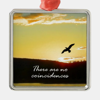 There Are No Coincidences Square Metal Christmas Ornament
