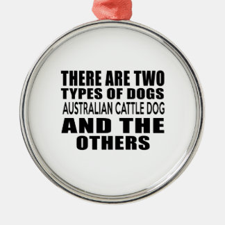 THERE ARE TWO TYPES OF DOGS AUSTRALIAN CATTLE DOG ROUND METAL CHRISTMAS ORNAMENT
