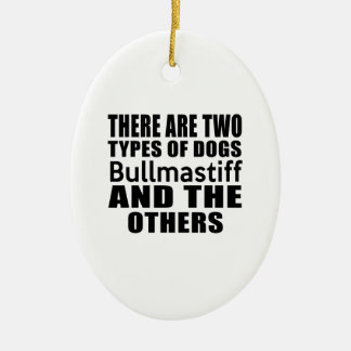 THERE ARE TWO TYPES OF DOGS Bullmastiff AND THE OT Double-Sided Oval Ceramic Christmas Ornament