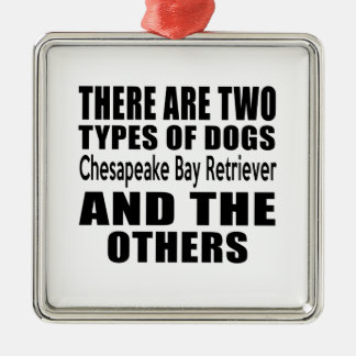 THERE ARE TWO TYPES OF DOGS Chesapeake Bay Retriev Square Metal Christmas Ornament