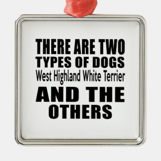 THERE ARE TWO TYPES OF DOGS West Highland White Te Square Metal Christmas Ornament