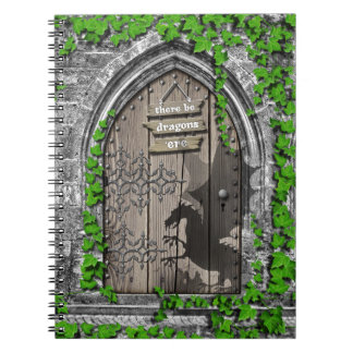 There be Dragons King Arthur Medieval Dragon Door Notebook
