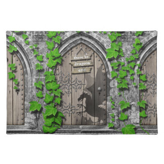 There be Dragons King Arthur Medieval Dragon Door Placemat
