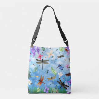 There Be Dragons Whimsical Dragonfly Design Crossbody Bag