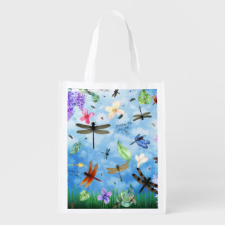 There Be Dragons Whimsical Dragonfly Design Grocery Bag