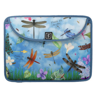 There Be Dragons Whimsical Dragonfly Design Sleeve For MacBook Pro