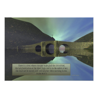 """""""There is a River"""" Inspirational Scripture Poster"""