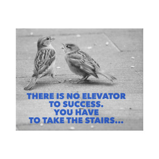 There is no elevator to success - motivational canvas print