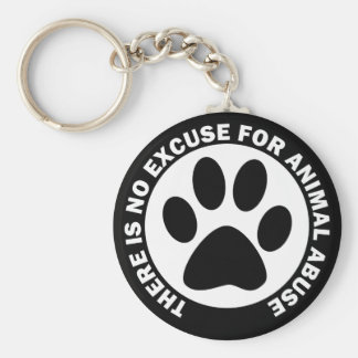 There Is No Excuse For Animal Abuse Basic Round Button Keychain