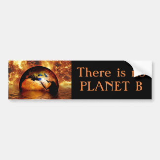 """There is no Planet B "" with Burning Earth. Bumper Sticker"