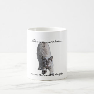 There is no snooze button..., on a cat t... classic white coffee mug