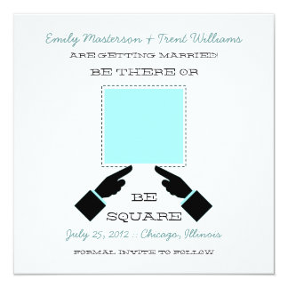There or Square Save the Date, Aqua Card