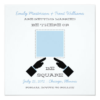 There or Square Save the Date, Blue Invitation