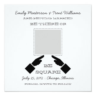 There or Square Save the Date, Gray Invitation