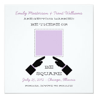 There or Square Save the Date, Lilac Invitation