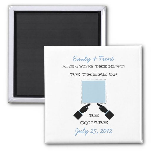 There or Square Save the Date Magnet, Blue