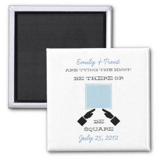 There or Square Save the Date Magnet, Blue 2 Inch Square Magnet