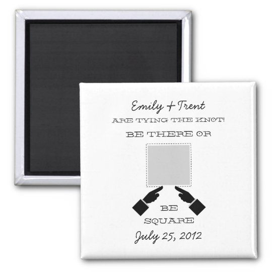 There or Square Save the Date Magnet, Gray Magnet