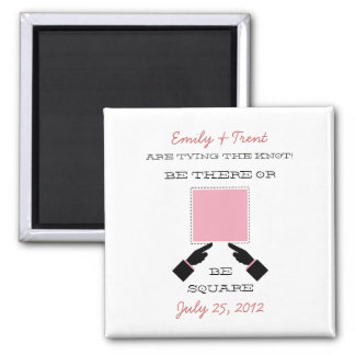 There or Square Save the Date Magnet, Pink 2 Inch Square Magnet
