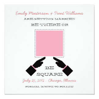There or Square Save the Date, Pink Card
