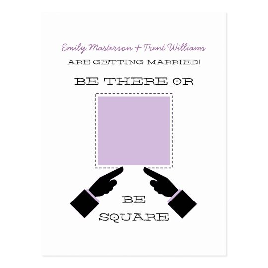 There or Square Save the Date Postcard, Lilac Postcard