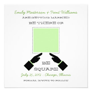There or Square Save the Date Sage Invites
