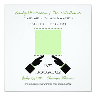 There or Square Save the Date, Sage 5.25x5.25 Square Paper Invitation Card