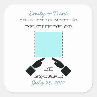 There or Square Save the Date Sticker, Aqua