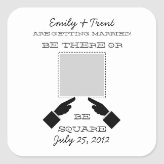 There or Square Save the Date Sticker, Gray