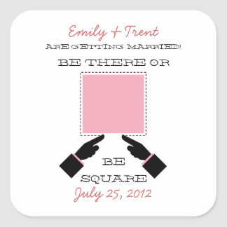 There or Square Save the Date Sticker, Pink