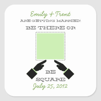 There or Square Save the Date Sticker, Sage