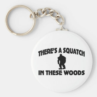 There's A Squatch In These Woods Basic Round Button Keychain