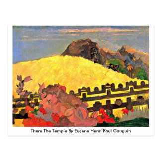 There The Temple By Eugene Henri Paul Gauguin Postcard