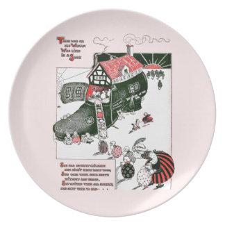 There Was an Old Woman Nursery Rhyme Melamine Plate