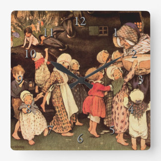 There Was An Old Woman Nursery Rhyme Square Wall Clock