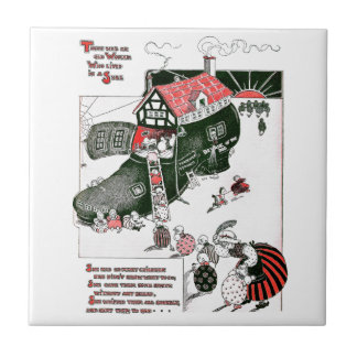 There Was an Old Woman Nursery Rhyme Small Square Tile