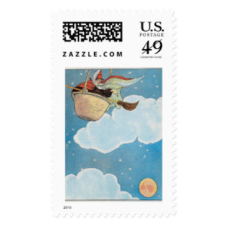 There was an old woman tossed in a basket, postage stamps