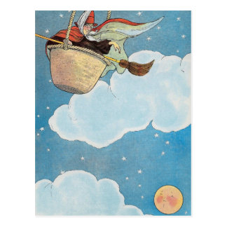 There was an old woman tossed in a basket, postcard
