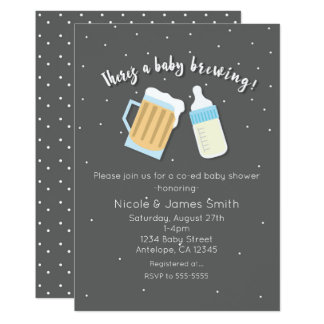 There's A Baby Brewing Beer Mugs Co-ed Shower Card