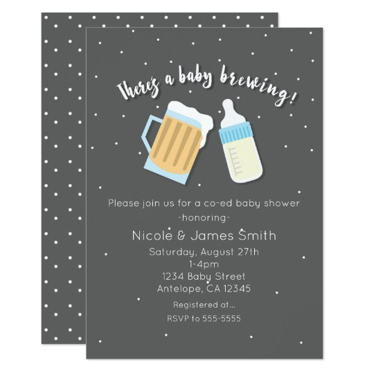 There S A Baby Brewing Beer Mugs Co Ed Shower Invitation