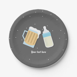 There's A Baby Brewing Beer Mugs Grey Baby Shower Paper Plate