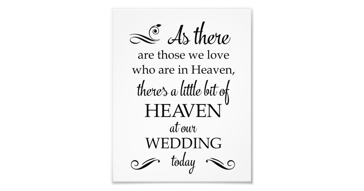 There's A Little Bit Of Heaven Wedding Memorial Photo