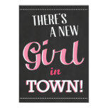 There's A New Girl In Town Baby Shower Invite