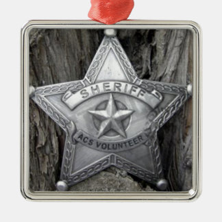 There's A New Sheriff In Town Square Metal Christmas Ornament