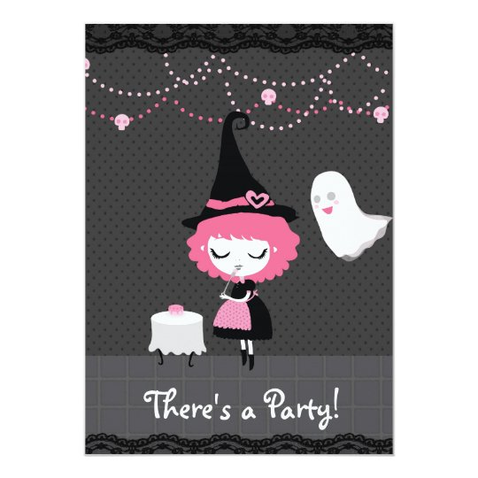 There's a Party! Pink Witch Invitation