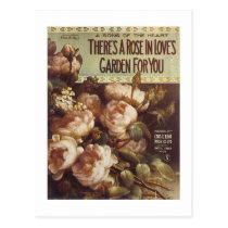 There's A Rose Vintage Songbook Cover Postcard