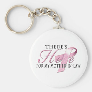 There's Hope for Breast Cancer Mother-In-Law Keychain