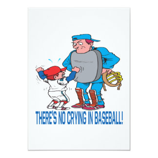 Theres No Crying In Baseball 5x7 Paper Invitation Card